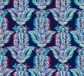 picture of bohemian  - seamless hamsa pattern with neon glow. Festive and phycedelic bohemian pattern with oriental traditional motif symbol of luck. 