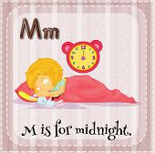 picture of letter m  - Flashcard letter M is for midnight - JPG