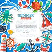 stock photo of compasses  - Summer Concept Flyer Template with Flat Marine icons - JPG