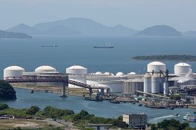 foto of fuel tanker  - Industrial fuel storage tanks at oil refinery - JPG