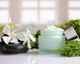 stock photo of algae  - Open cream jar algae - JPG