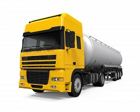 picture of fuel tanker  - Yellow Fuel Tanker Truck isolated on white background - JPG