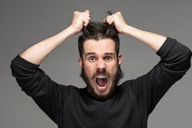 stock photo of crazy face  - frustration - JPG