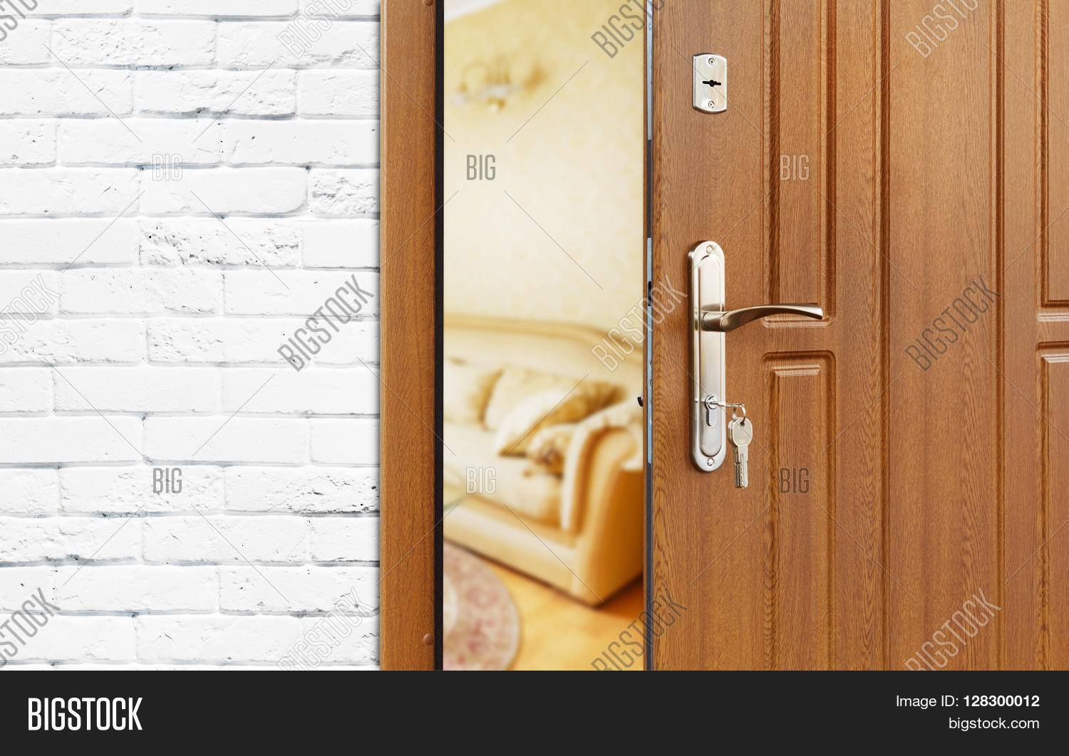 Half opened door to a living room. Door handle door lock. Lounge door & Half Opened Door Living Room. Door Image u0026 Photo | Bigstock pezcame.com