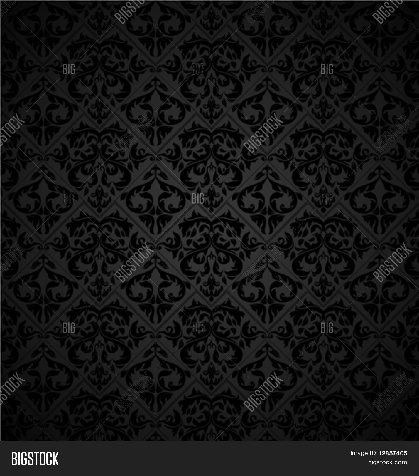 Seamless Wallpaper Pattern, Black Vector & Photo