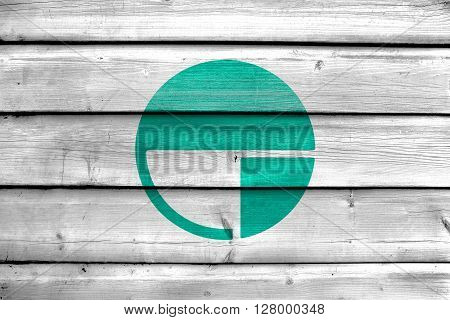 Flag Of Nagano, Japan, Painted On Old Wood Plank Background