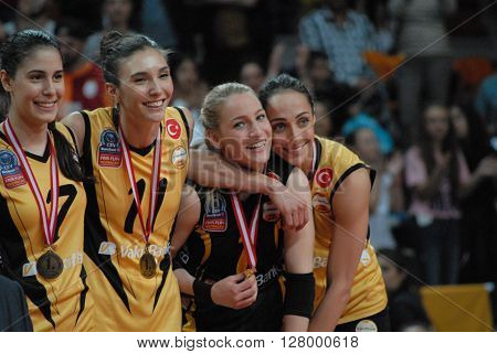 ANKARA/TURKEY-April 30, 2016: Vakifbank Volleyball Team's players at the Baskent Volleyball Hall during the Volleyball Women 1st Laegue of Turkey Final Four matches medal ceremony. April 30, 2016-Ankara/Turkey