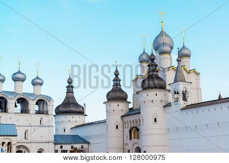 Rostov Veliky, Russia-March 30.2016.  panorama ofof the Rostov Kremlin, Golden Ring tourist ** Note: Visible grain at 100%, best at smaller sizes