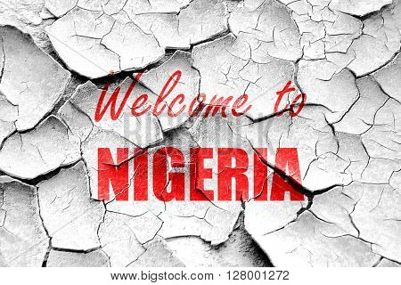 Grunge cracked Welcome to nigeria