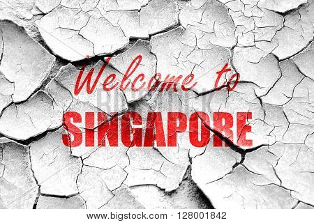 Grunge cracked Welcome to singapore