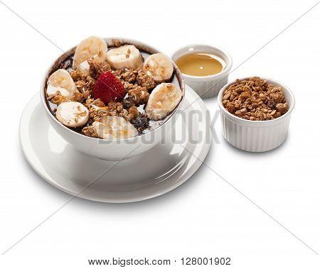 Acai fruit Amazon in the bowl. White background.