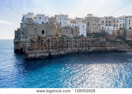 Polignano A Mare, Small Town Built On Rocks In Bari, Apulia, Italy
