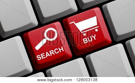 Computer Keyboard with symbols is showing Search and Buy