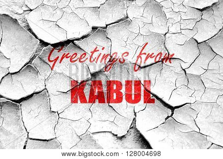 Grunge cracked Greetings from kabul