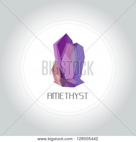 Amethyst gem logo in low lolygon style. Vector illustration for web company logo and brand design.