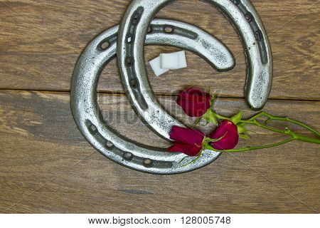 Kentucky Derby red roses with horse shoes and sugar cubes on barn wood background.