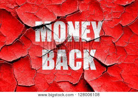 Grunge cracked money back sign
