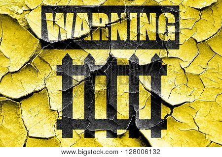 Grunge cracked Railway warning sign