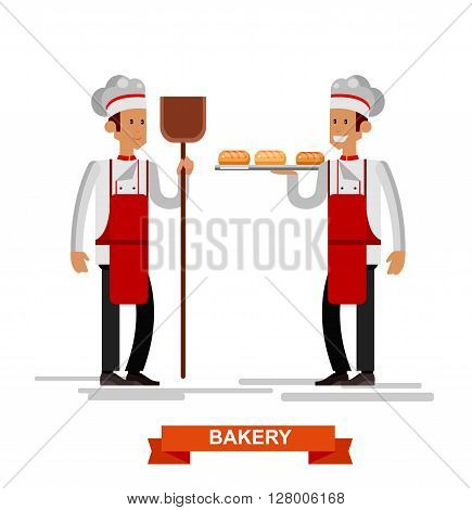 Vector detailed characters male professional chef, Cook baker cooking bread, bakery interior flat design vector illustration isolated on white background.