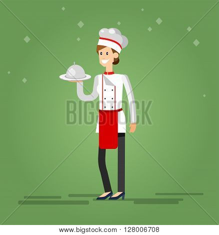Vector detailed characters woman professional chef, Cook baker cooking, bakery flat design vector illustration