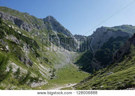 Panorama of Mali Draski Vrh in Slovenian Alps