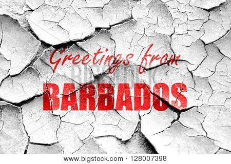 Grunge cracked Greetings from barbados