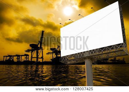 Billboard With Container Cargo Freight Ship With Working Crane Bridge In Shipyard At Sunrise