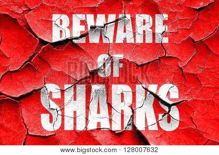 Grunge cracked Beware of sharks sign