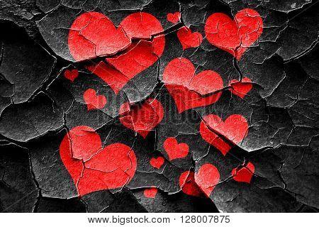 Grunge cracked Hearts love background