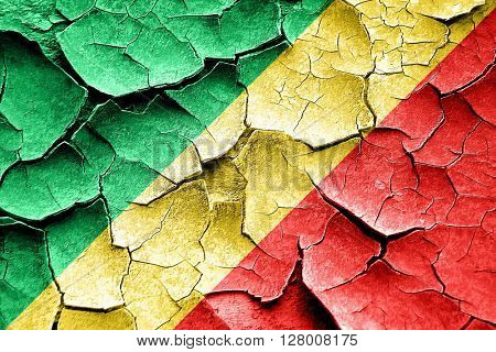 Grunge Congo flag with some cracks and vintage look