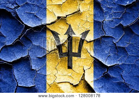 Grunge Barbados flag with some cracks and vintage look