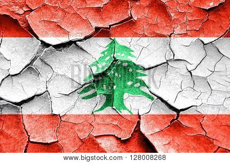 Grunge Lebanon flag with some cracks and vintage look