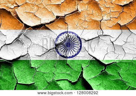 Grunge India flag with some cracks and vintage look
