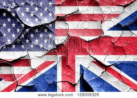 Grunge Great britain flag with american flag combination