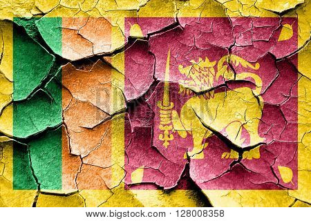 Grunge Sri lanka flag with some cracks and vintage look