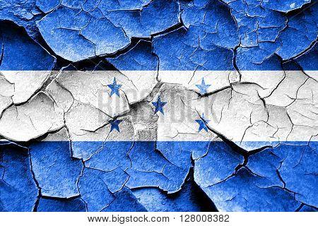 Grunge Honduras flag with some cracks and vintage look