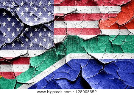 Grunge South africa flag with american flag combination