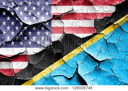 Grunge Tanzanian flag with american flag combination