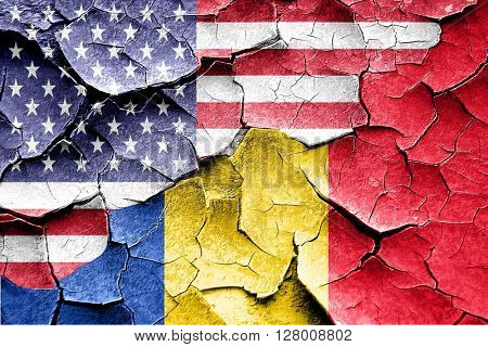 Grunge Romania flag with american flag combination