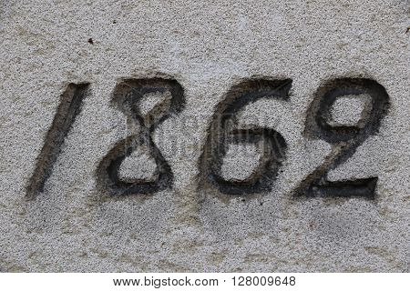 Year 1862 of a grave of a cemetery in Paris