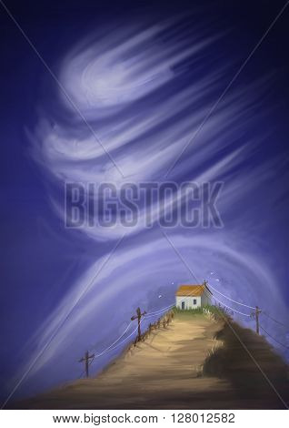 Mystic house on the hill in turbulent weather