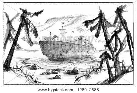 Ship near the shore into the sea