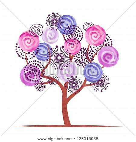 Creative blossom tree isolated on white background. Abstract watercolor flowers. Vector illustration.
