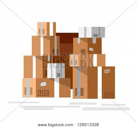 VectorPile of stacked sealed goods cardboard boxes. Detailed mail box