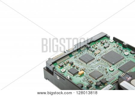 Close up circuit of harddisk drive isolated on white background