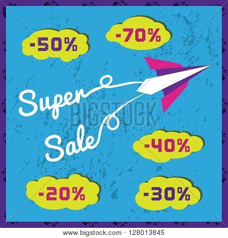 Paper planes. Super sales advertisement. Origami flying paper airplanes. Sale poster, discount promotion banner. Special offer for sales season. Presentation of Marketing campaign. Vector illustration