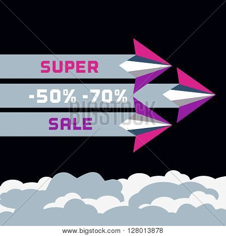 Paper planes. Travel sales advertisement. Origami flying paper airplanes. Travelling sale poster, discount promotion banner. Special offer for big sales season. Marketing campaign. Vector illustration