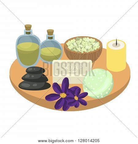 Spa set accessories on wooden tray. Aroma oils, pebbles, soap, bath bomb, sea salt and candles. Set for relax spa procedures.