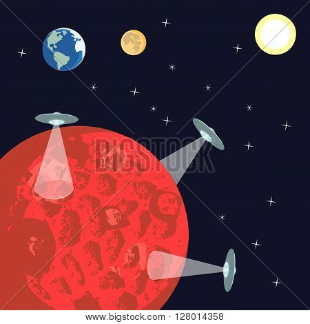 UFO landing to Mars. Alien Spaceship explorind red planet. Illustraion of space, sun, planet Mars, Earth, moon. Idea for design on theme of cosmos, galaxy, ufo. Vector illustration