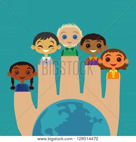 Multicultural friendship Concept. United Kids. Unity of different ethnicity, nationalities. Isolated boy, girl. Kids of different nations community. Nations at earth are friends. Vector illustration